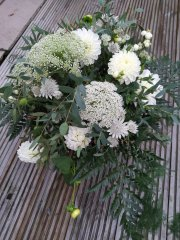 Foliage Woodland Bridal Bouquet White Green at an October Wedding