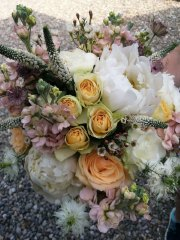 Rose Peony Country Garden Bridal Bouquet at a June Wedding