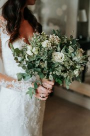 eucalyJune Wedding Eucalyptus Bridal Bouquet Closeup Cream Greenptus_bridal_bouquet_closeup_cream_green_Junewedding_delamereflowerfarm