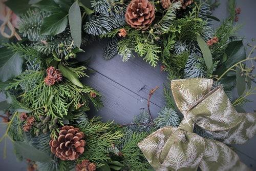 Christmas wreath made at a Delamere Flower Farm wreath making workshops