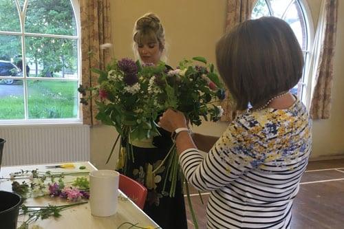 Flower workshop at Norley Village Hall being run by Delamere Flower Farm in Cheshire